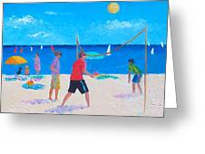 Beach Painting Beach Volleyball  By Jan Matson Greeting Card