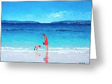 Beach Painting - Cooling Off Greeting Card