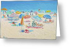Beach Painting - Crowded Beach Greeting Card