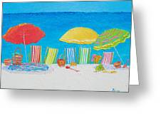 Beach Painting - Deck Chairs Greeting Card