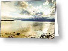Beach Panorama Of A Sunrise Over The Sea Greeting Card