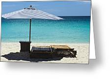 Beach Scene With Lounger And Umbrella Greeting Card by Paul W Sharpe Aka Wizard of Wonders