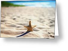 Beach Starfish Wood Texture Greeting Card