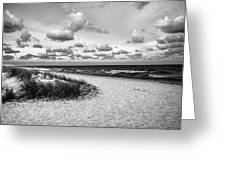 Beach Sunset Bw Greeting Card