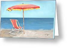 Beach Umbrella Of Stripes Greeting Card