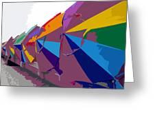Beach Umbrella Row Greeting Card