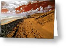 Beach Under A Blood Red Sky Greeting Card