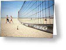 Beach Volleyball Net On The Sand At Long Beach, Ca Greeting Card