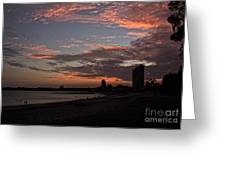 Beach Walk At Sunset Greeting Card
