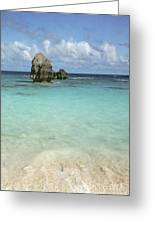 Beach With Big Rock Ahead Vertical Bermuda Greeting Card