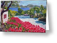 Beach With Flowers Greeting Card