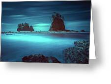 Beach With Sea Stacks In Moody Lighting Greeting Card