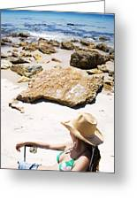 Beach Woman Greeting Card by Jorgo Photography - Wall Art Gallery