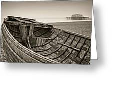 Beached At Brighton In Sepia Greeting Card