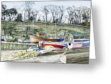 Beached Boats Dysart Greeting Card