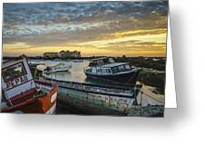 Beached Boats On Trocadero Pipe Puerto Real Cadiz Spain Greeting Card