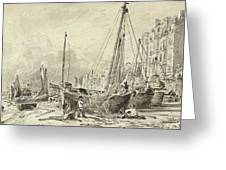 Beached Fishing Boats With Fishermen Mending Nets On The Beach At Brighton, Looking West Greeting Card
