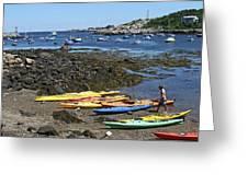 Beached Kayaks At Rockport Harbor Greeting Card