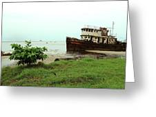 Beached Ship Greeting Card