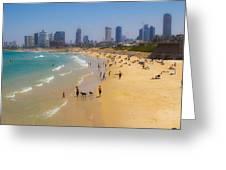Beachfront In Tel Aviv  Greeting Card