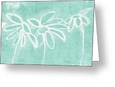 Beachglass And White Flowers 3- Art By Linda Woods Greeting Card