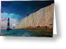 Beachy Head Lighthouse And Cliffs Greeting Card