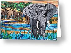 Beaded Elephant Greeting Card