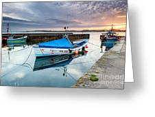Beadnell Harbour Sunset Greeting Card