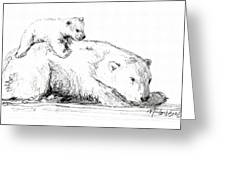 Bear And Cub Greeting Card