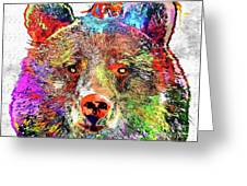 Bear Colored Grunge Greeting Card