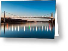 Bear Mountain Bridge At Dusk. Greeting Card
