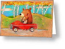 Bear Out For A Drive Greeting Card