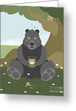 Bear With A Jar Of Honey Greeting Card