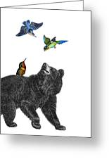 Bear With Birds Antique Illustration Greeting Card