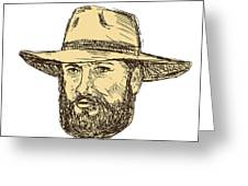Bearded Cowboy Head Drawing Greeting Card