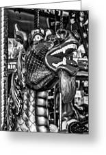 Bearded Dragon Ride Black And White Greeting Card