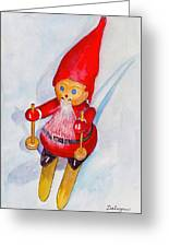 Bearded Elf On Skis Greeting Card