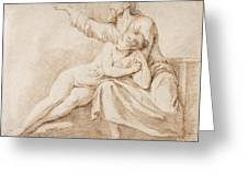 Bearded Man Embracing A Young Woman Greeting Card