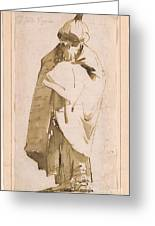 Bearded Oriental In Turban And Cloak Greeting Card