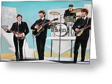 Beatles On Ed Sullivan Greeting Card by Leland Castro