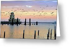 Beau Rivage Marina And Lighthouse Greeting Card