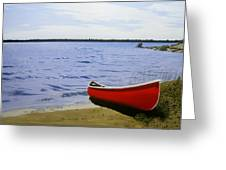 Beaultiful Red Canoe Greeting Card