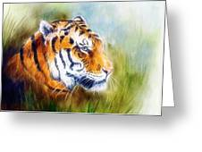 Beautiful Airbrush Painting Of A Mighty Fierce Tiger Head On A Soft Toned Abstract Gres Background  Greeting Card