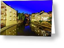 Beautiful Alzette River Side Scene On Road Rue Munster Greeting Card