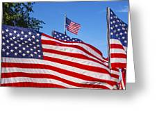 Beautiful American Flags Greeting Card