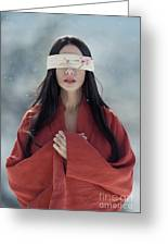Beautiful Asian Woman With Red Sensual Lips Standing In The Snow Greeting Card