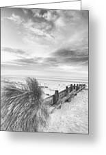 Beautiful Beach Coastal Low Tide Landscape Image At Sunrise In B Greeting Card