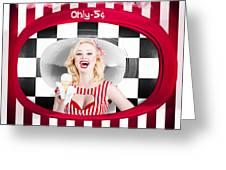 Beautiful Blonde Woman Serving Ice Cream Greeting Card