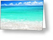 Beautiful Blue Sea Beach Greeting Card by Anna Om