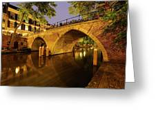 Beautiful Bridge Weesbrug Over The Old Canal In Utrecht At Dusk 220 Greeting Card